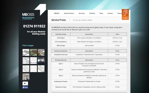 Screenshot of Pricing Page mb-oss.co.uk - Service Pricing | Modular Building - One Stop Shop - captured Sept. 30, 2014
