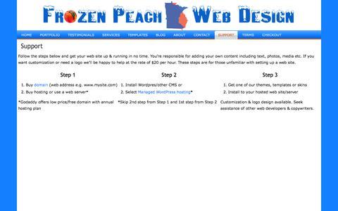 Screenshot of Support Page frozenpeachwebdesign.com - Support | Frozen Peach Web Design - captured Oct. 29, 2014