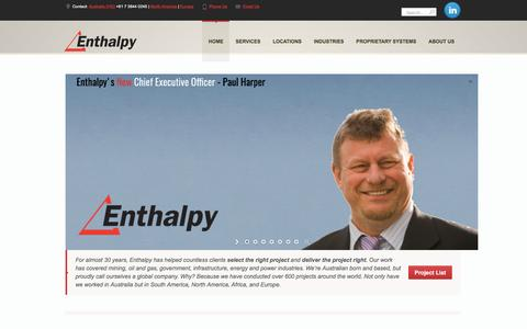 Screenshot of Home Page enthalpy.com.au - Enthalpy | Project Management Consultants | Selecting the right project - captured May 19, 2017