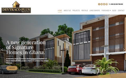 Screenshot of Home Page devtracoplus.com - Luxury Apartments and Townhomes in Accra, Ghana | Devtraco Plus - captured Aug. 1, 2016