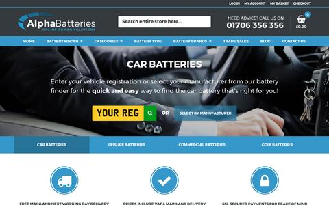 Screenshot of Home Page alpha-batteries.co.uk - Buy Car Batteries & Leisure Batteries Online - Free Next Day Delivery - Alpha Batteries - captured May 29, 2017