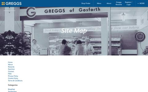 Screenshot of Site Map Page greggs.co.uk - Greggs | Site Map - captured July 19, 2016