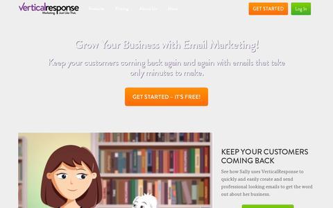 Screenshot of Home Page verticalresponse.com - Email Marketing. Just Like That. | VerticalResponse - captured July 11, 2014
