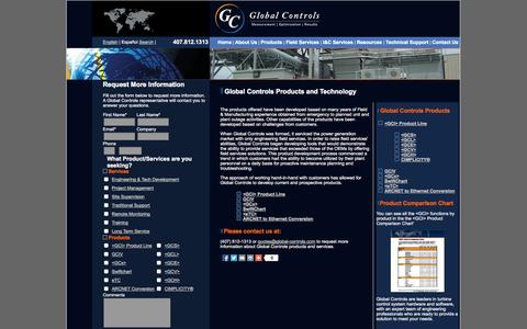 Screenshot of Products Page global-controls.com - Products and Technology from Global Controls - captured Oct. 2, 2014