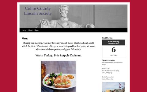 Screenshot of Menu Page lincolnsociety.org - Menu | Collin County Lincoln Society - captured Oct. 3, 2014