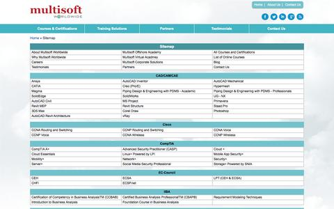 Screenshot of Site Map Page multisoft-worldwide.com - Sitemap of Multisoft Worldwide | Certification Training Programs - captured Oct. 26, 2014