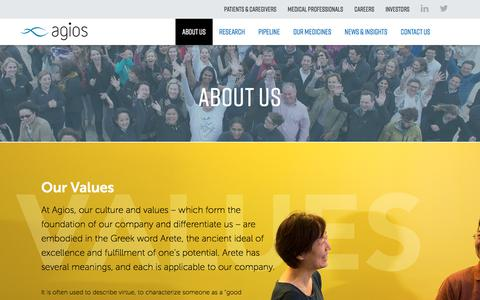 Screenshot of About Page agios.com - Our Values | Agios | The Other Side of Possible - captured July 13, 2018
