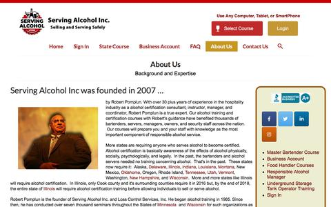 Screenshot of About Page servingalcohol.com - Serving Alcohol Certification Training - About Us - captured Nov. 30, 2019