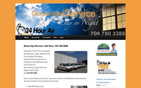 Screenshot of Home Page 24hourair.com - 24hourair   Heating & AC Specialists - captured Oct. 9, 2014