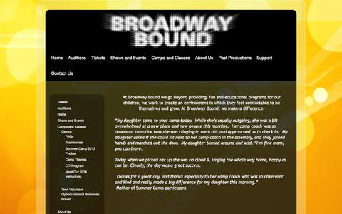 Screenshot of Testimonials Page broadwaybound.org - Testimonials | Broadway Bound - captured Oct. 5, 2014