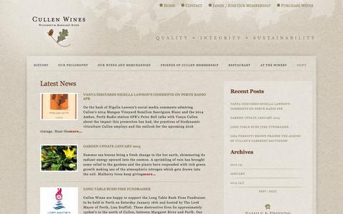Screenshot of Press Page cullenwines.com.au - News :: Cullen Wines - captured Feb. 1, 2016
