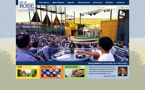 Screenshot of Home Page cityofboise.org - City of Boise - captured Sept. 23, 2014