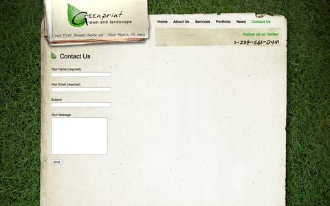 Screenshot of Contact Page greenprintlawncare.com - Fort Myers Lawn Care | Contact Us | Greenprint Lawn & Landscape - captured Oct. 3, 2014
