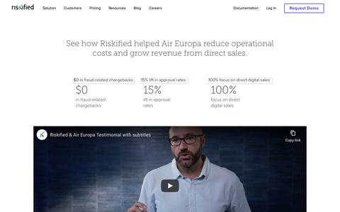 Screenshot of Case Studies Page riskified.com - Air Europa Testimonial Video | Riskified - captured Feb. 20, 2020