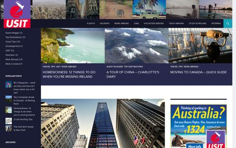 Screenshot of Blog usit.ie - USIT Work and Travel Hub - captured Oct. 7, 2014