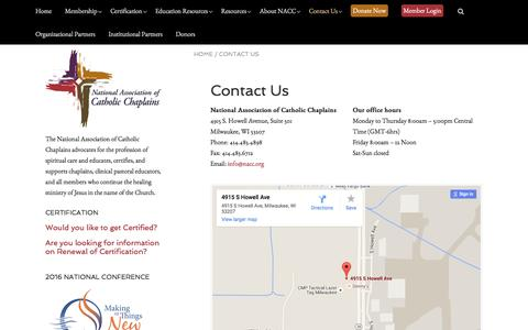 Screenshot of Contact Page nacc.org - Contact Us | The National Association of Catholic Chaplains - captured Feb. 13, 2016