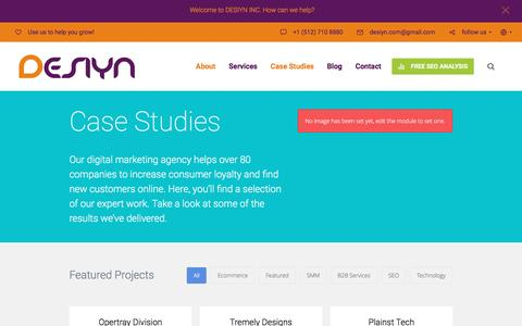 Screenshot of Case Studies Page desiyn.com - Section: Case Studies - Desiyn Inc. - captured Nov. 24, 2016