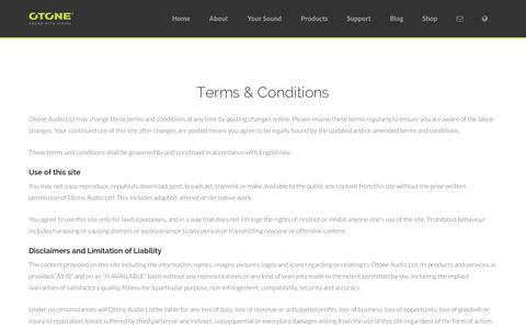 Screenshot of Terms Page otoneaudio.co.uk - Terms & Conditions - OTONE Audio - Sound with Vision - captured Oct. 26, 2014