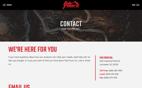 Screenshot of Contact Page fabfours.com - Contact | Fab Fours - captured March 6, 2019
