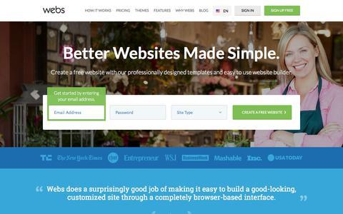 Screenshot of Home Page webs.com - Free Website Builder: Make a Free Website & Hosting | Webs - captured Sept. 12, 2014