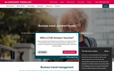 Screenshot of Home Page corptraveller.co.uk - Business Travel Management Powered for You | Corporate Traveller - captured July 19, 2018