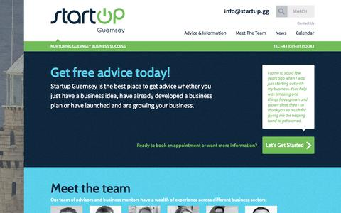 Screenshot of Home Page Menu Page startup.gg - Nurturing Guernsey Business Success | Startup Guernsey - captured Oct. 7, 2014