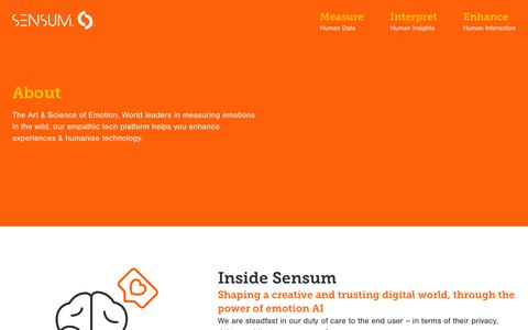 Screenshot of About Page sensum.co - About Sensum – our story, company and team | Sensum - captured Oct. 18, 2018