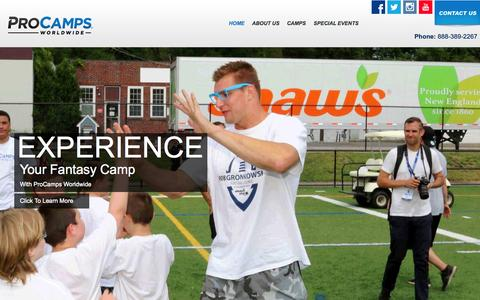 Screenshot of Home Page procamps.com - Welcome to ProCamps - the Nationwide Leader in Youth Sports Camps - captured Nov. 13, 2015