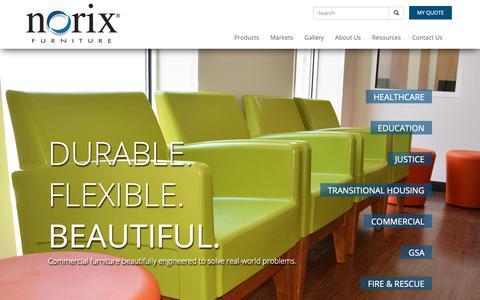 Screenshot of Home Page norix.com - Commercial Furniture | Healthcare | Education | Justice | Shelter | GSA - captured Oct. 19, 2018