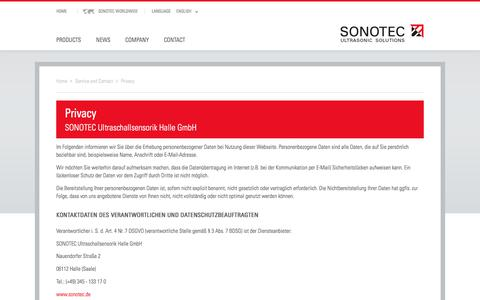 Screenshot of Privacy Page sonotec.eu - Privacy - SONOTEC - captured Sept. 24, 2018