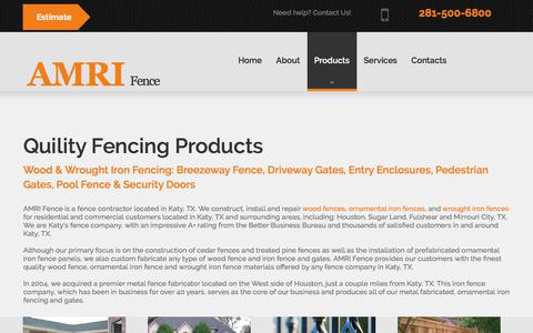 Screenshot of Products Page amrifence.com - Products | AMRI Fence - captured Oct. 7, 2017