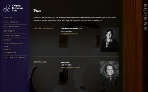 Screenshot of Team Page calpeteclub.com - Team | Calgary Petroleum Club - captured Sept. 26, 2018