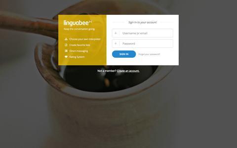 Screenshot of Login Page linguabee.com - linguabee.com - captured Sept. 30, 2014