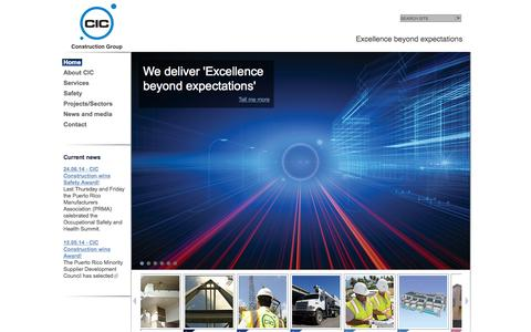 Screenshot of Home Page cic-pr.com - CIC Construction Group   Excellence beyond expectations - captured Oct. 1, 2014