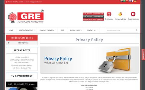 Screenshot of Privacy Page greindia.com - greindia | Privacy Policy - captured July 11, 2017