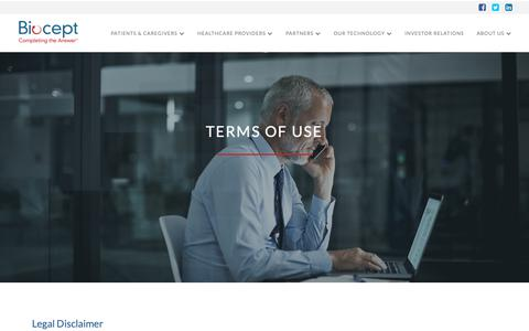 Screenshot of Terms Page biocept.com - Terms of Use | Biocept - captured Oct. 5, 2018