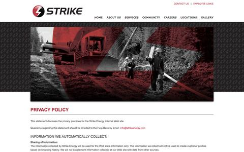 Screenshot of Privacy Page strikeenergy.com - Strike Energy Services - captured Oct. 7, 2014