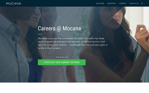 Screenshot of Jobs Page mocana.com - careers - captured April 20, 2016
