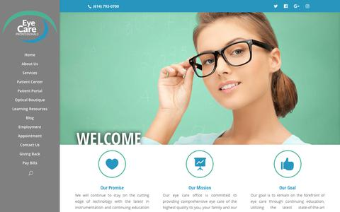 Screenshot of Home Page eyecarepowell.com - Home | EyeCare Professionals of Powell - captured Sept. 30, 2018