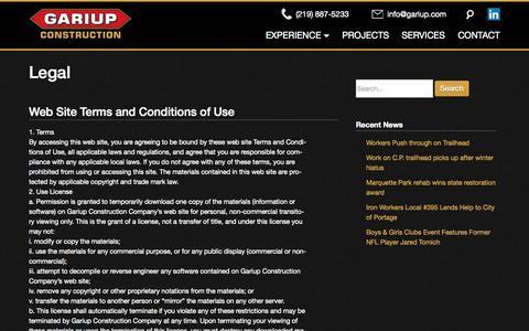 Screenshot of Terms Page gariup.com - Gariup Construction  | Legal - captured Oct. 22, 2014
