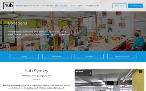 Screenshot of Locations Page hubaustralia.com - Our Coworking Locations | Hub Australia - captured Nov. 14, 2016