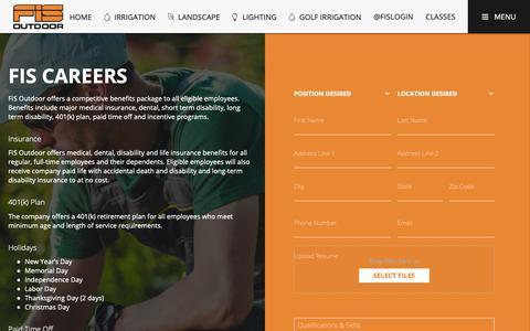 Screenshot of Jobs Page fisoutdoor.com - Join Our FIS Outdoor Team | FIS Outdoor - captured Nov. 6, 2018