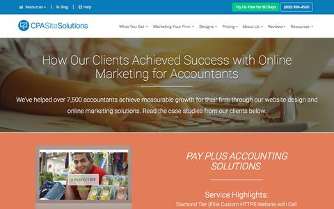 Screenshot of Case Studies Page secure256.com - Online Marketing Solutions for Accountants Success Stories   CPA Site Solutions - captured Sept. 23, 2018