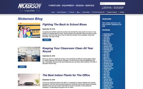 Screenshot of Blog nickersoncorp.com - Blog | Nickerson NY - FURNITURE • EQUIPMENT • DESIGN • SERVICE - captured Oct. 19, 2018