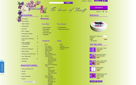 Screenshot of Site Map Page cosmeticsmall.eu - Sitemap - Cosmetics MALL Europe - captured Oct. 3, 2014