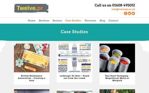 Screenshot of Case Studies Page twelvepr.co.uk - Case Studies - Twelve PR - captured Sept. 21, 2018