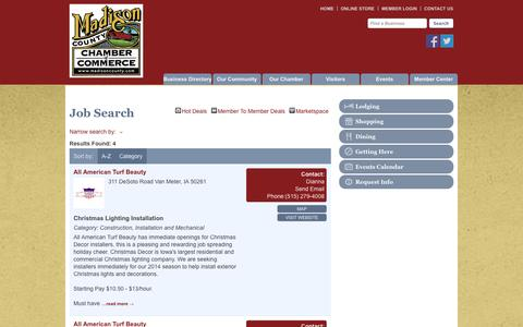Screenshot of Jobs Page madisoncounty.com - Job Search - Madison County Chamber of Commerce - Madison County, IA - captured Oct. 3, 2014