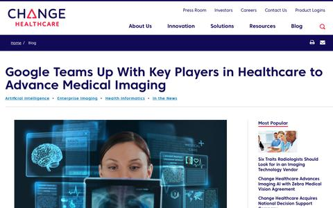 Screenshot of Team Page changehealthcare.com - Google Teams Up With Key Players in Healthcare to Advance Medical Imaging | Change Healthcare - captured Feb. 20, 2020
