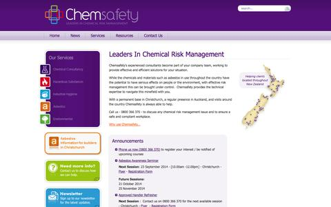 Screenshot of Home Page chemsafety.co.nz - Chemsafety : Leaders in Chemical Risk Management - captured Oct. 2, 2014