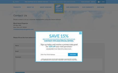 Screenshot of Contact Page blockislandorganics.com - Contact Us - Block Island Organics: Suncare + Skin Care + Sunscreen + Sunblock - captured Feb. 7, 2016